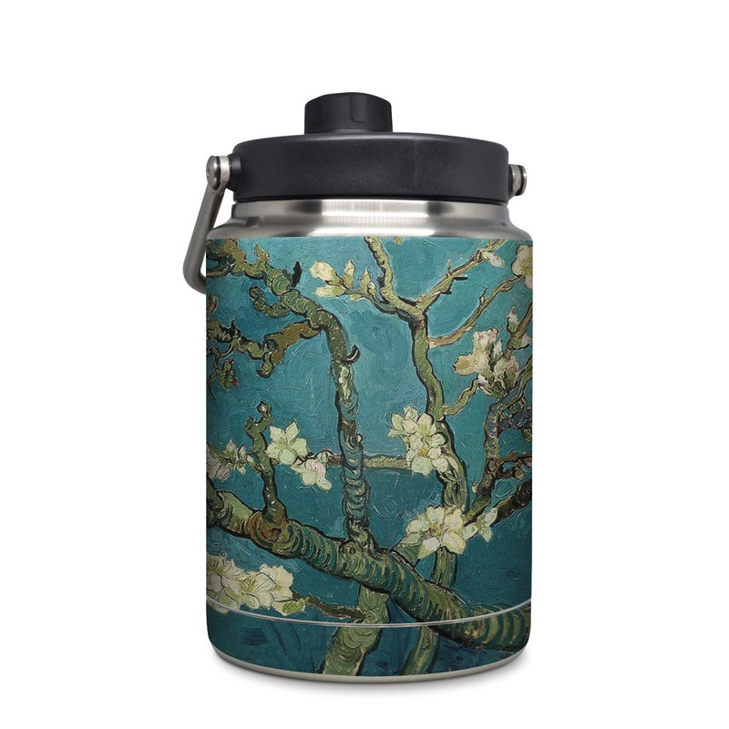 Yeti Rambler Jug Half Gallon Skin design of Tree, Branch, Plant, Flower, Blossom, Spring, Woody plant, Perennial plant with blue, black, gray, green colors