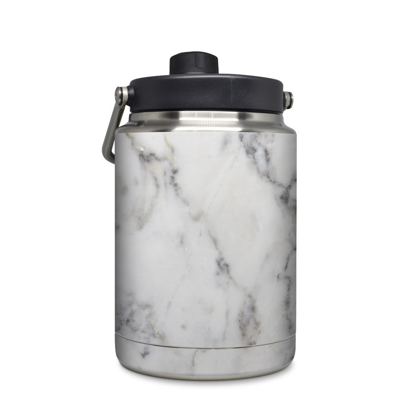 Yeti Rambler Jug Half Gallon Skin design of White, Geological phenomenon, Marble, Black-and-white, Freezing with white, black, gray colors