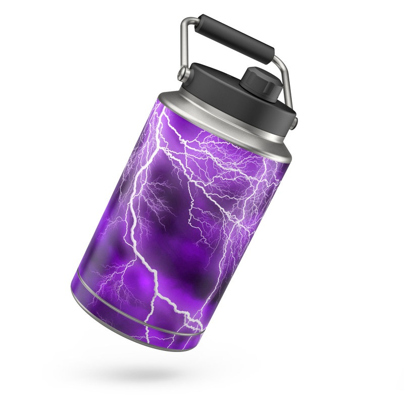 Yeti Rambler Jug One Gallon Skin design of Thunder, Lightning, Thunderstorm, Sky, Nature, Purple, Violet, Atmosphere, Storm, Electric blue with purple, black, white colors