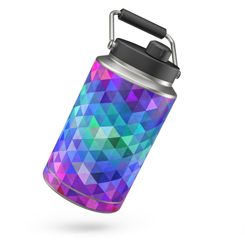 Yeti Rambler Jug One Gallon Skin design of Purple, Violet, Pattern, Blue, Magenta, Triangle, Line, Design, Graphic design, Symmetry with blue, purple, green, red, pink colors