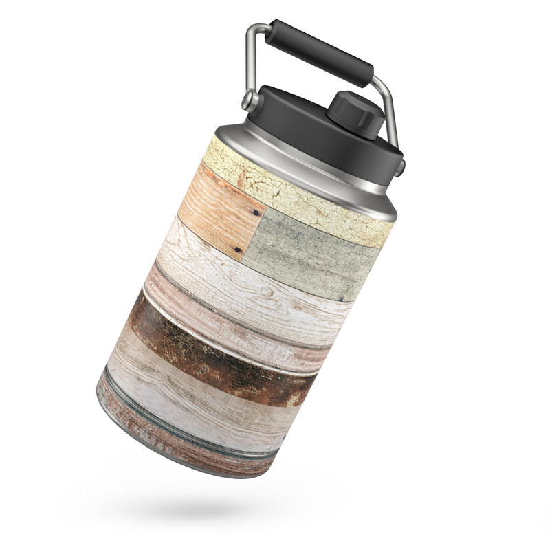 Yeti Rambler Jug One Gallon Skin design of Wood, Wall, Plank, Line, Lumber, Wood stain, Beige, Parallel, Hardwood, Pattern with brown, white, gray, yellow colors