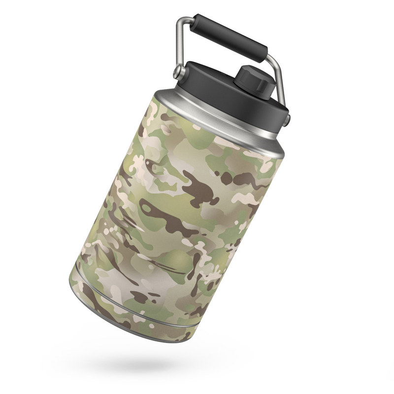 Yeti Rambler Jug One Gallon Skin design of Military camouflage, Camouflage, Pattern, Clothing, Uniform, Design, Military uniform, Bed sheet with gray, green, black, red colors