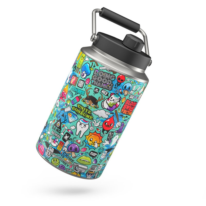 Yeti Rambler Jug One Gallon Skin design of Cartoon, Art, Pattern, Design, Illustration, Visual arts, Doodle, Psychedelic art with black, blue, gray, red, green colors