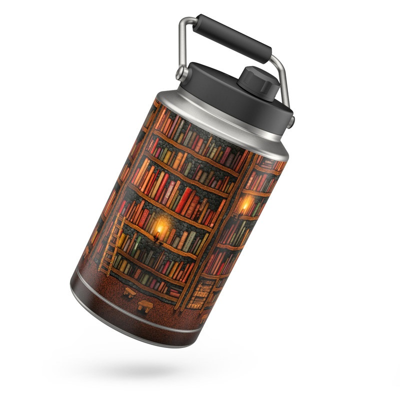Yeti Rambler Jug One Gallon Skin design of Shelving, Library, Bookcase, Shelf, Furniture, Book, Building, Publication, Room, Darkness with black, red colors
