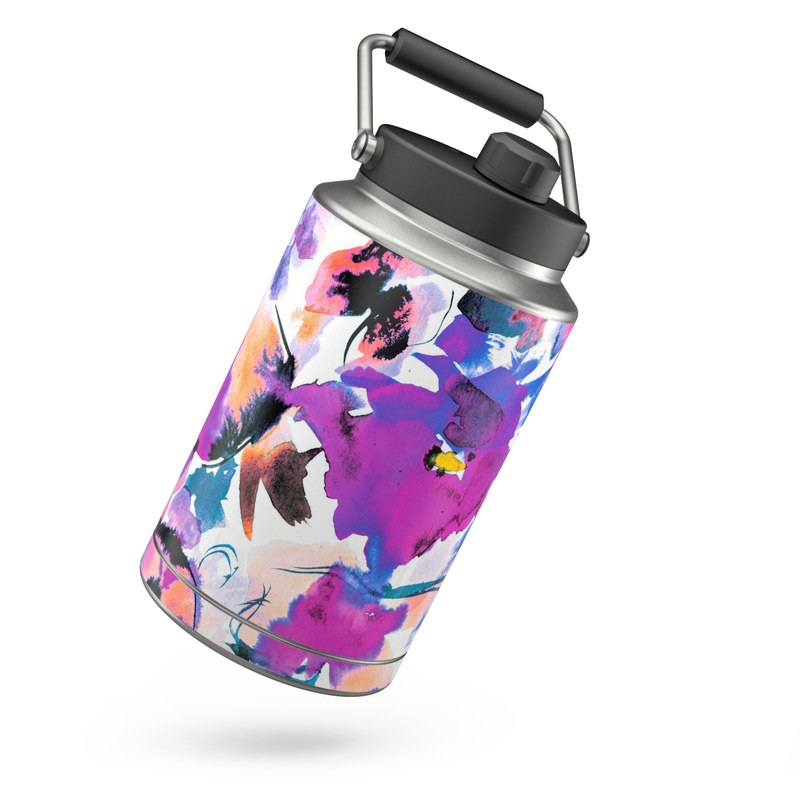 Yeti Rambler Jug One Gallon Skin design of Product, Purple, Illustration, Graphic design, Plant, Clip art, Flower, Graphics, Wildflower, Watercolor paint with white, purple, pink, yellow, blue, black colors
