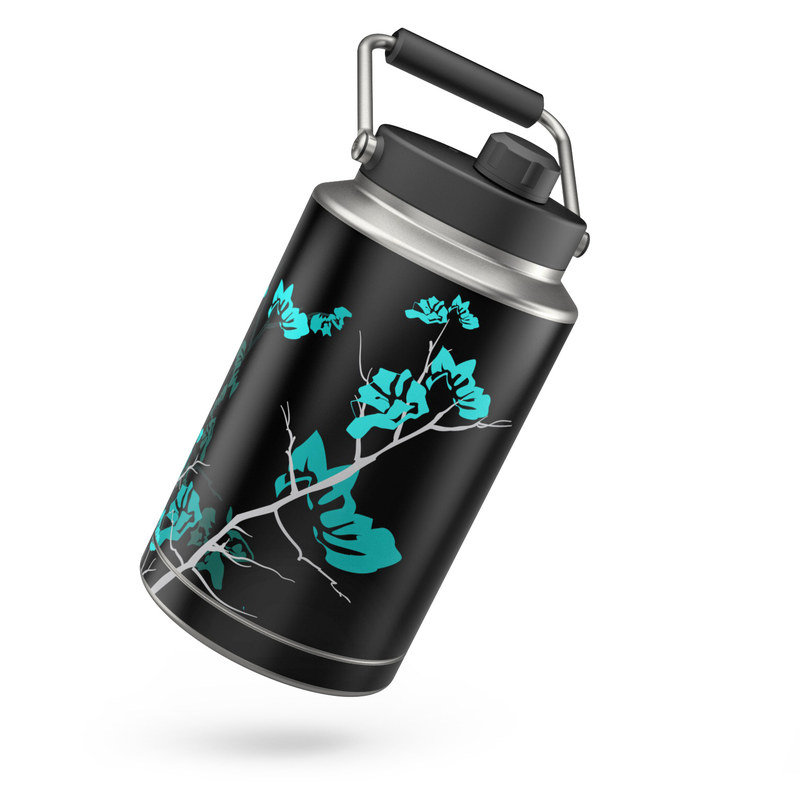 Yeti Rambler Jug One Gallon Skin design of Branch, Black, Blue, Green, Turquoise, Teal, Tree, Plant, Graphic design, Twig with black, blue, gray colors