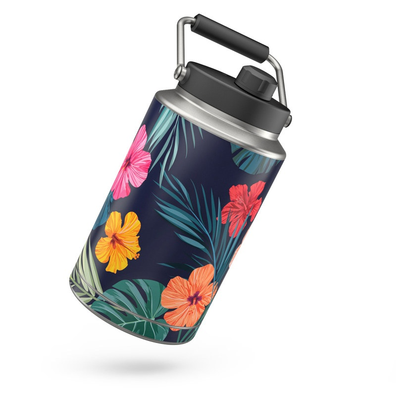 Yeti Rambler Jug One Gallon Skin design of Hawaiian hibiscus, Flower, Pattern, Plant, Leaf, Floral design, Botany, Design, Hibiscus, Petal with black, green, red, pink, orange, yellow, white colors