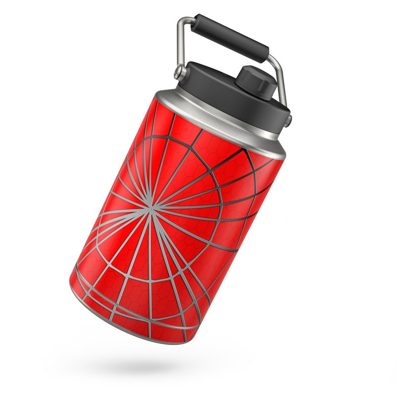 Yeti Rambler Jug One Gallon Skin design of Red, Symmetry, Circle, Pattern, Line with red, black, gray colors