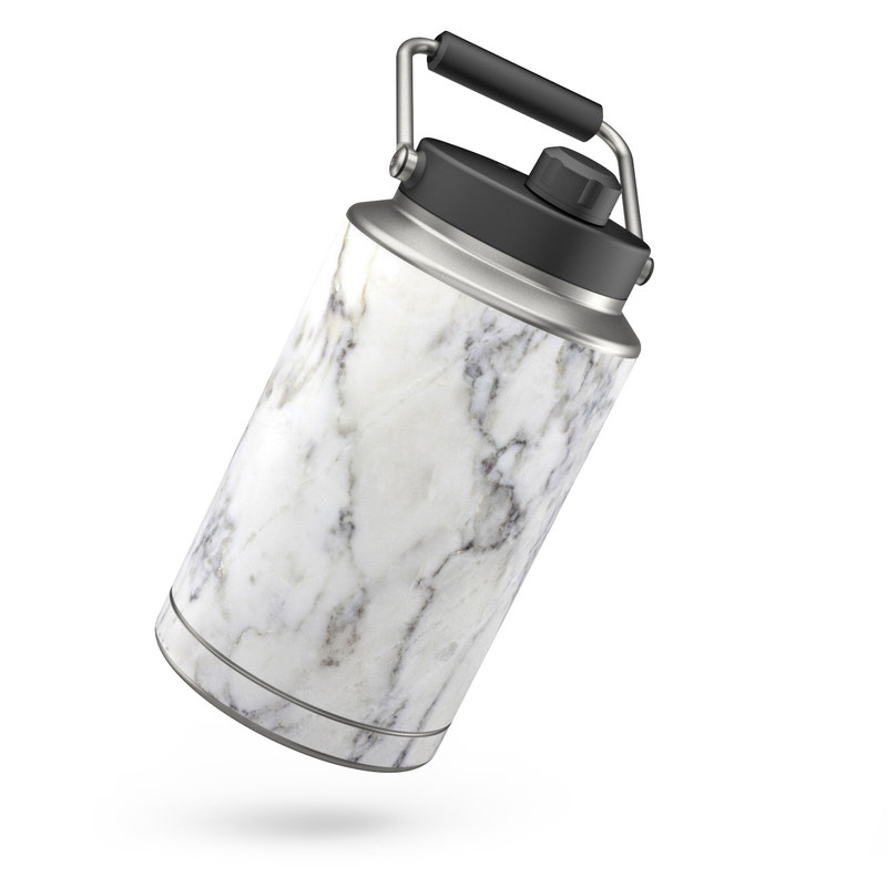 Yeti Rambler Jug One Gallon Skin design of White, Geological phenomenon, Marble, Black-and-white, Freezing with white, black, gray colors
