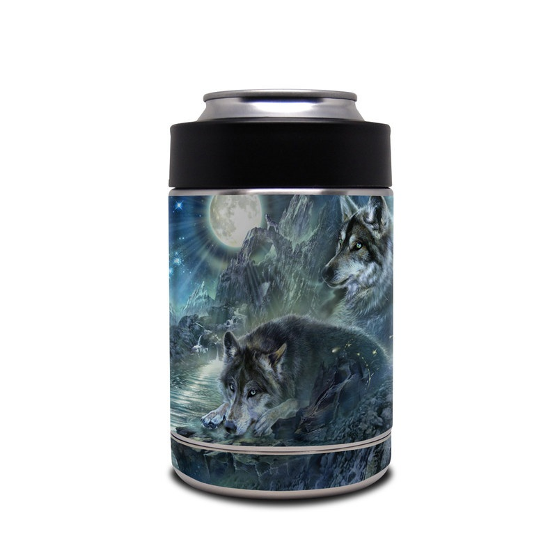 Yeti Rambler Colster Skin design of Cg artwork, Fictional character, Darkness, Werewolf, Illustration, Wolf, Mythical creature, Graphic design, Dragon, Mythology with black, blue, gray, white colors