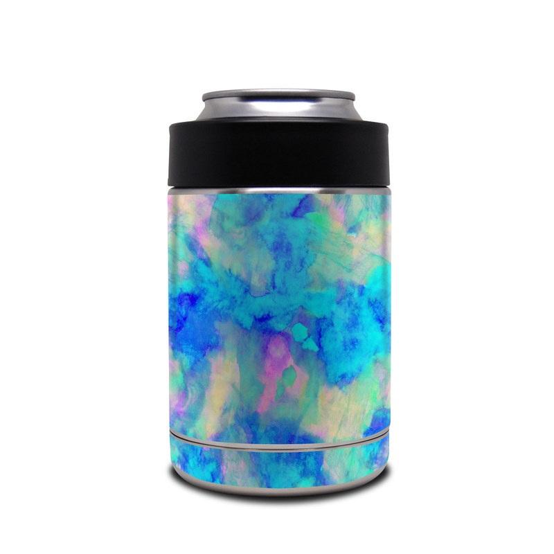 Yeti Rambler Colster Skin design of Blue, Turquoise, Aqua, Pattern, Dye, Design, Sky, Electric blue, Art, Watercolor paint with blue, purple colors