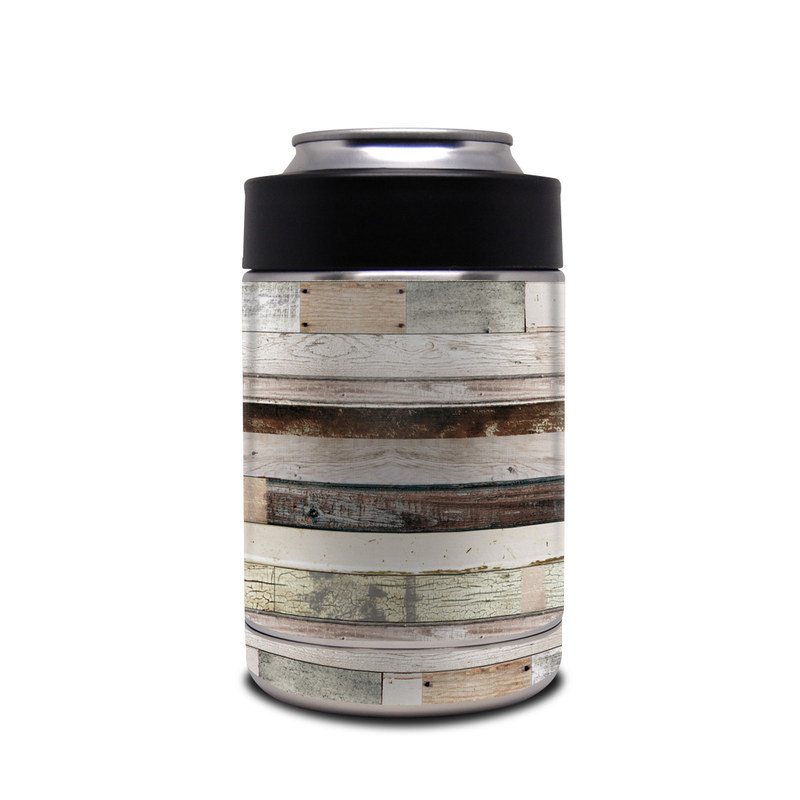Yeti Rambler Colster Skin design of Wood, Wall, Plank, Line, Lumber, Wood stain, Beige, Parallel, Hardwood, Pattern with brown, white, gray, yellow colors
