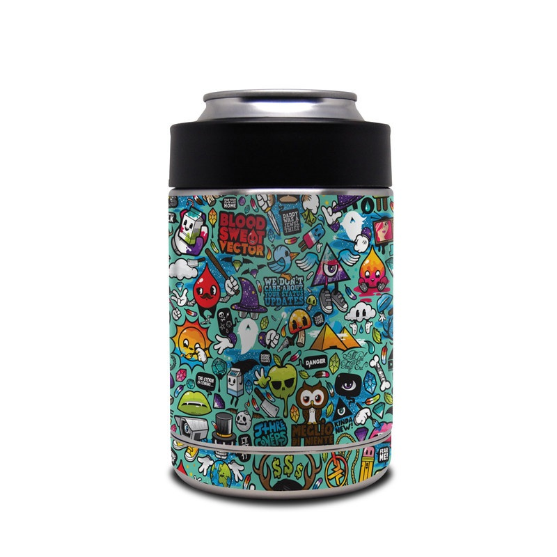 Yeti Rambler Colster Skin design of Cartoon, Art, Pattern, Design, Illustration, Visual arts, Doodle, Psychedelic art with black, blue, gray, red, green colors