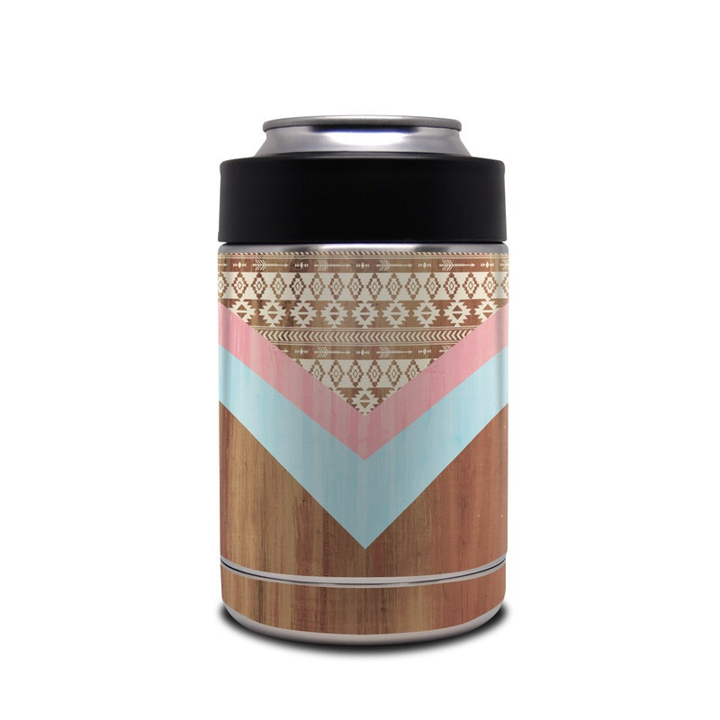 Yeti Rambler Colster Skin design of Pink, Orange, Pattern, Turquoise, Triangle, Line, Peach, Design, Beige, Textile with green, red, gray, purple, pink colors