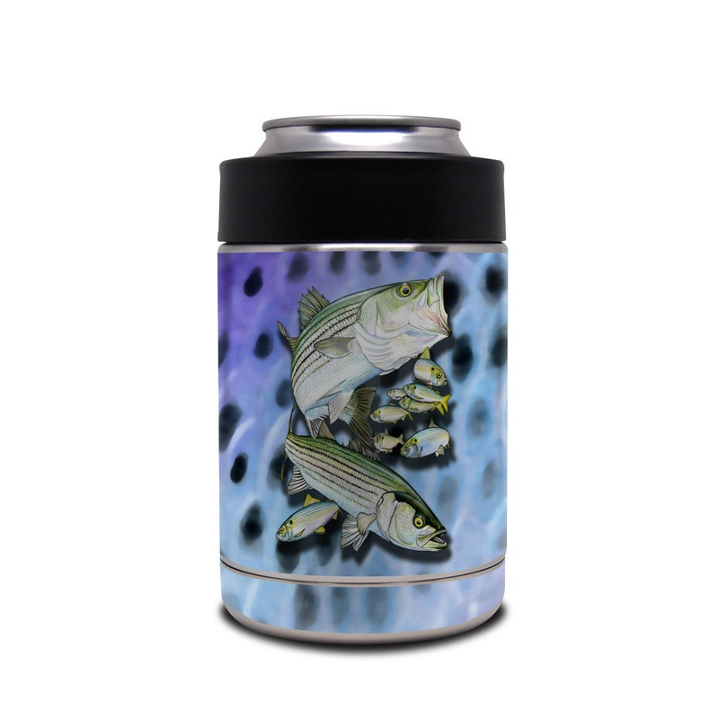 Yeti Rambler Colster Skin design of Fish, Bass, Bony-fish, Ray-finned fish, Northern largemouth bass, Trout with gray, black, blue, purple, green colors