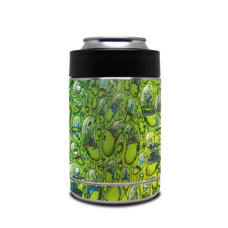 Yeti Rambler Colster Skin design of Green, Pattern, Yellow, Design, Illustration, Plant, Art, Graphic design, Urban design with green, blue, gray, yellow, orange colors