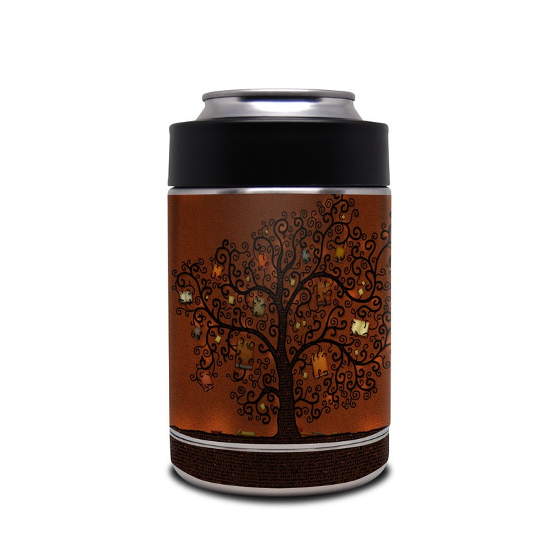 Yeti Rambler Colster Skin design of Tree, Brown, Leaf, Plant, Woody plant, Branch, Visual arts, Font, Pattern, Art with black colors