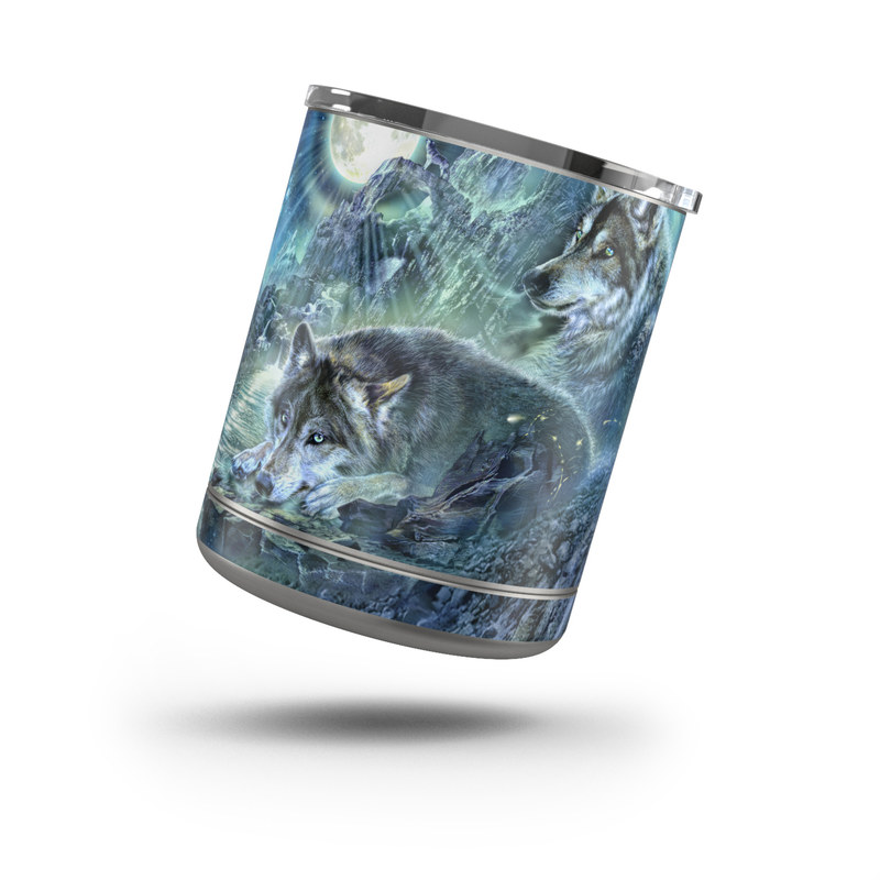 Yeti Rambler Lowball 10oz Skin design of Cg artwork, Fictional character, Darkness, Werewolf, Illustration, Wolf, Mythical creature, Graphic design, Dragon, Mythology with black, blue, gray, white colors