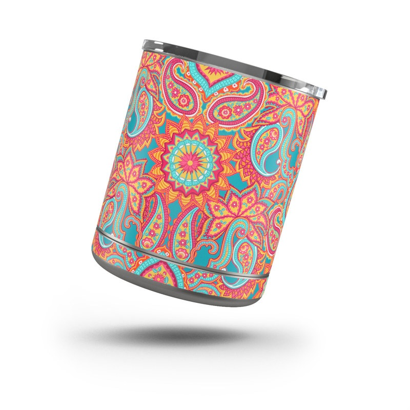 Yeti Rambler Lowball 10oz Skin design of Pattern, Paisley, Motif, Visual arts, Design, Art, Textile, Psychedelic art with orange, yellow, blue, red colors