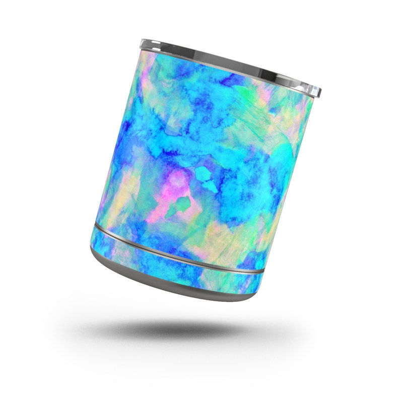 Yeti Rambler Lowball 10oz Skin design of Blue, Turquoise, Aqua, Pattern, Dye, Design, Sky, Electric blue, Art, Watercolor paint with blue, purple colors