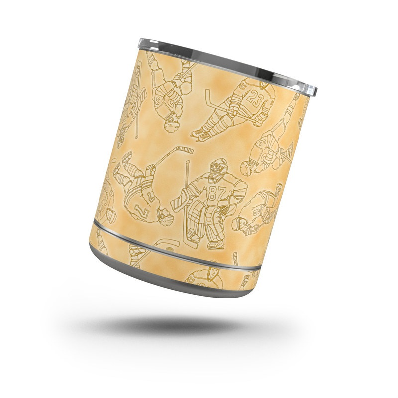 Yeti Rambler Lowball 10oz Skin design of Pattern, Wallpaper, Wrapping paper, Beige, Motif, Interior design with yellow, black colors