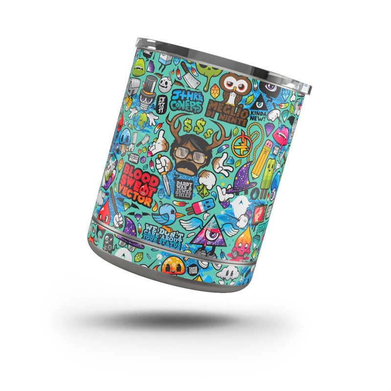 Yeti Rambler Lowball 10oz Skin design of Cartoon, Art, Pattern, Design, Illustration, Visual arts, Doodle, Psychedelic art with black, blue, gray, red, green colors