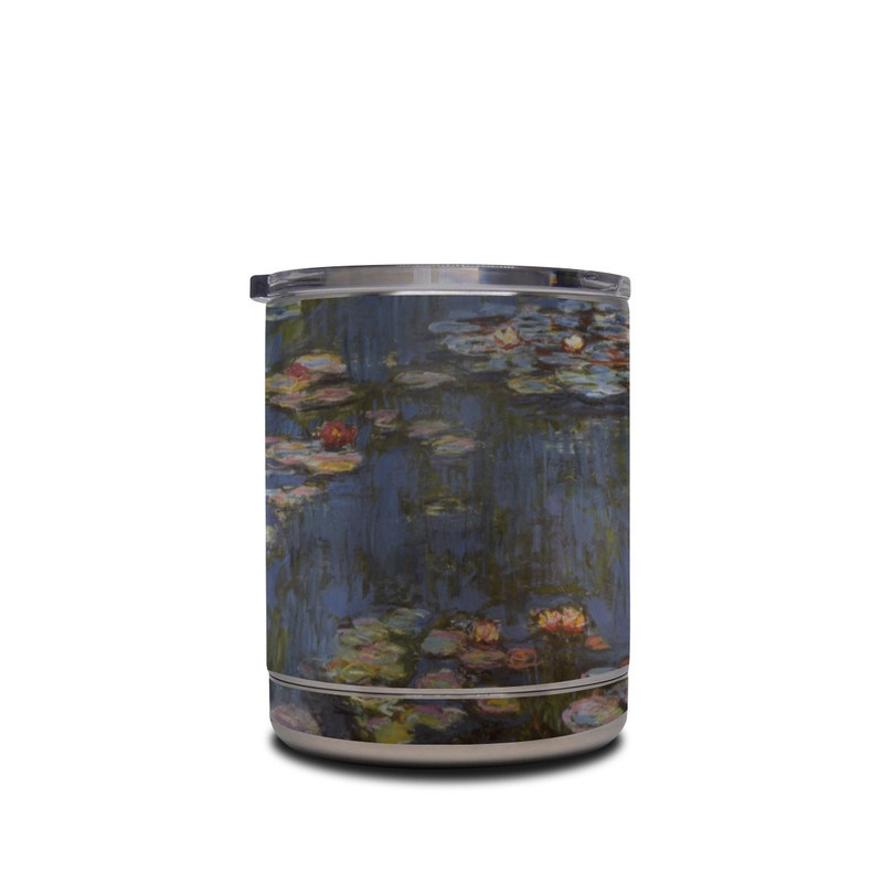 Yeti Rambler Lowball 10oz Skin design of Pond, Water, Painting, Watercourse, water lily, Reflection, Aquatic plant, Leaf, Fish pond, Still life with black, blue, gray, red, green colors