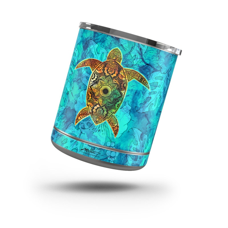 Yeti Rambler Lowball 10oz Skin design of Sea turtle, Green sea turtle, Turtle, Hawksbill sea turtle, Tortoise, Reptile, Loggerhead sea turtle, Illustration, Art, Pattern with blue, black, green, gray, red colors