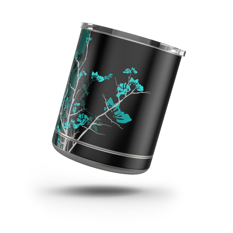 Yeti Rambler Lowball 10oz Skin design of Branch, Black, Blue, Green, Turquoise, Teal, Tree, Plant, Graphic design, Twig with black, blue, gray colors