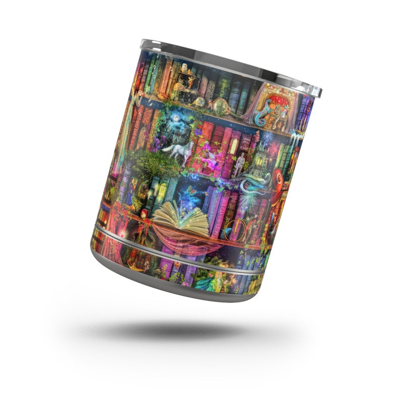 Yeti Rambler Lowball 10oz Skin design of Painting, Art, Theatrical scenery with black, red, gray, green, blue colors