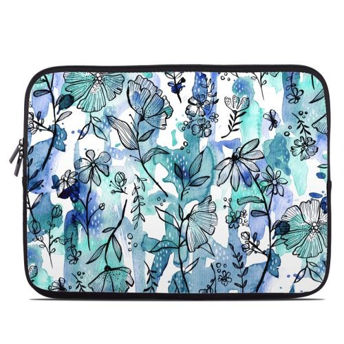 Blue Ink Floral Laptop Sleeve