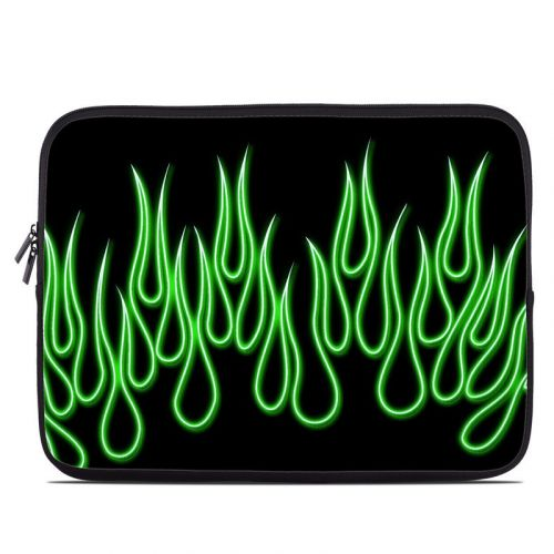 Green Neon Flames Laptop Sleeve