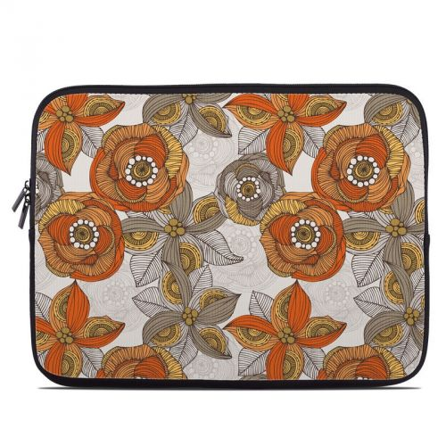 Orange and Grey Flowers Laptop Sleeve