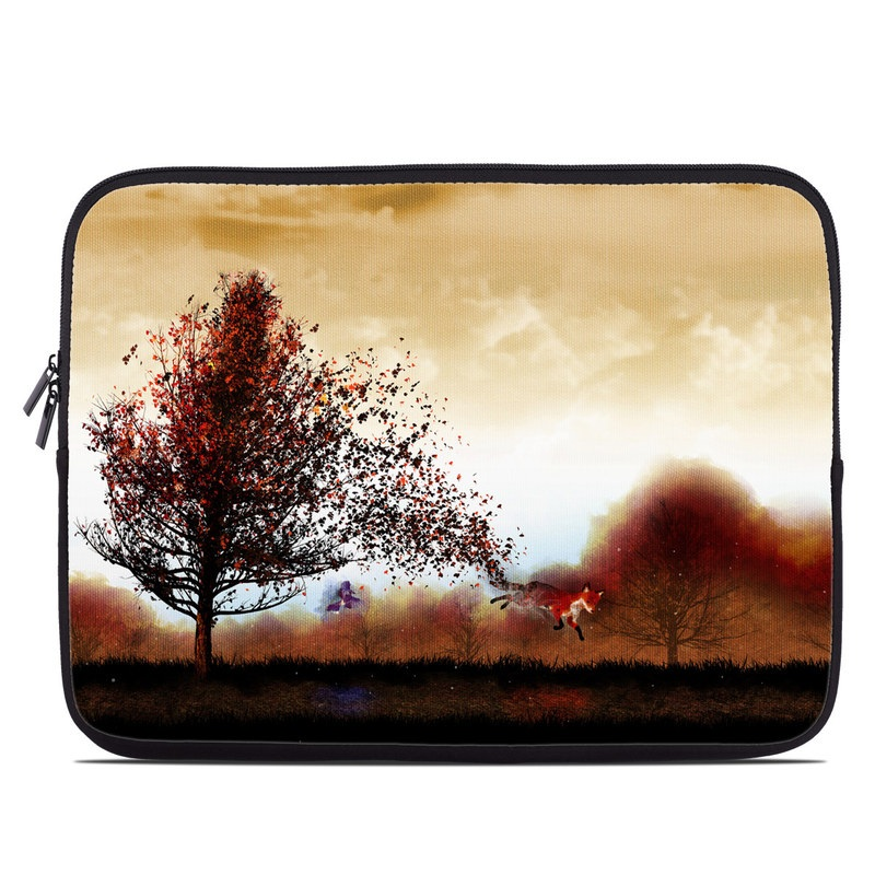 Laptop Sleeve design of Sky, Nature, Natural landscape, Tree, Morning, Horizon, Cloud, Landscape, Atmosphere, Rural area with black, white, red, yellow, orange colors