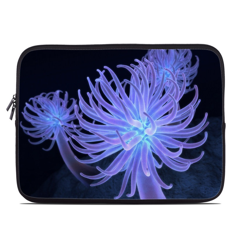 Laptop Sleeve design of Sea anemone, Organism, Blue, Marine biology, Cnidaria, Electric blue, Marine invertebrates, Invertebrate, Plant, Flower with black, blue, purple colors