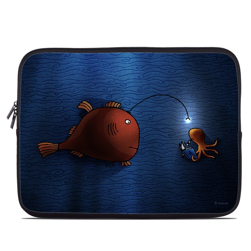 Laptop Sleeve design of Deep sea fish, Anglerfish, Illustration, Fish, Animation, Art with blue, red colors