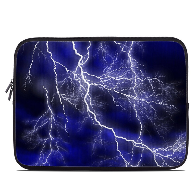 Laptop Sleeve design of Thunder, Lightning, Thunderstorm, Sky, Nature, Electric blue, Atmosphere, Daytime, Blue, Atmospheric phenomenon with blue, black, white colors