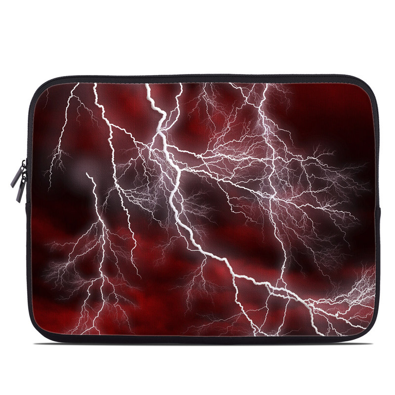 Laptop Sleeve design of Thunder, Thunderstorm, Lightning, Red, Nature, Sky, Atmosphere, Geological phenomenon, Lighting, Atmospheric phenomenon with red, black, white colors