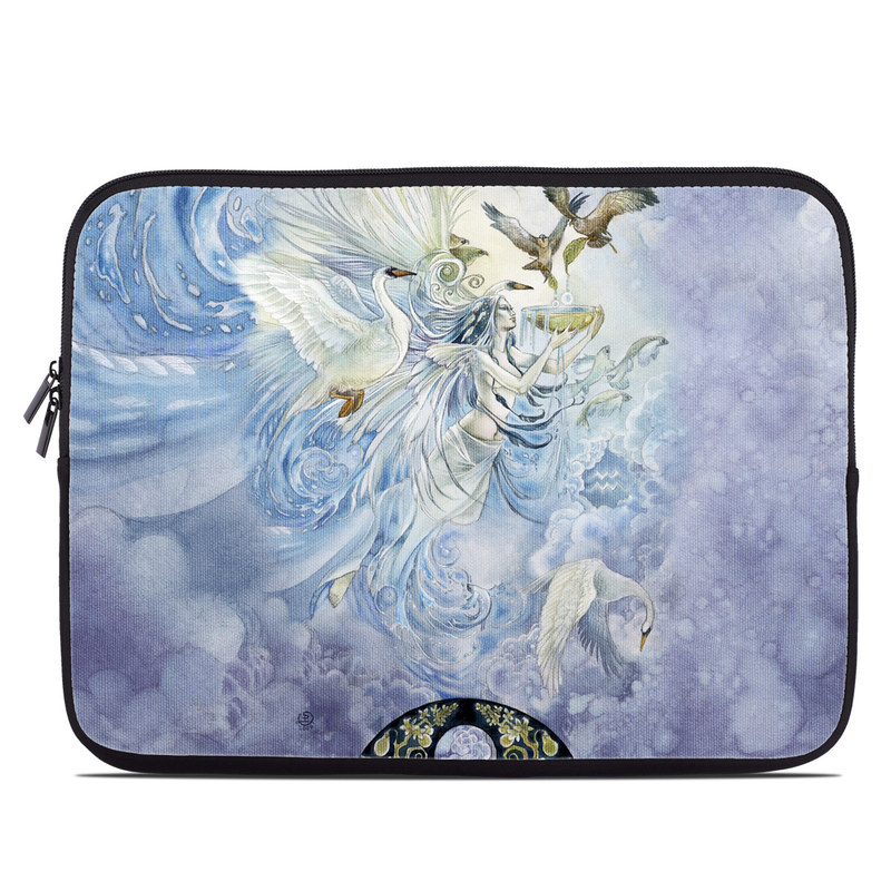 Laptop Sleeve design of Illustration, Fictional character, Mythology, Angel, Cg artwork, Art, Painting, Supernatural creature, Watercolor paint, Mythical creature with blue, white, brown, purple, yellow colors