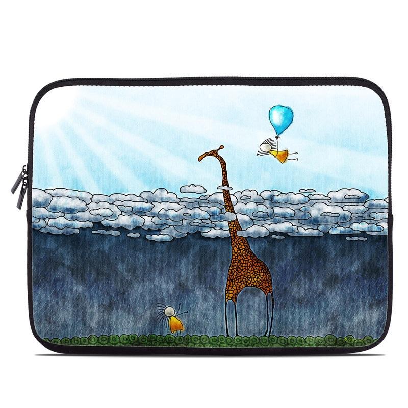 Laptop Sleeve design of Giraffe, Sky, Tree, Water, Branch, Giraffidae, Illustration, Cloud, Grassland, Bird with blue, gray, yellow, green colors