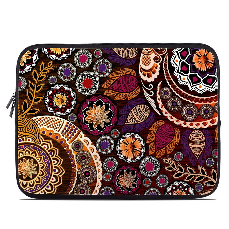 Laptop Sleeve design of Pattern, Motif, Visual arts, Design, Art, Floral design, Textile, Paisley, Tapestry, Circle with brown, purple, red, white, black colors