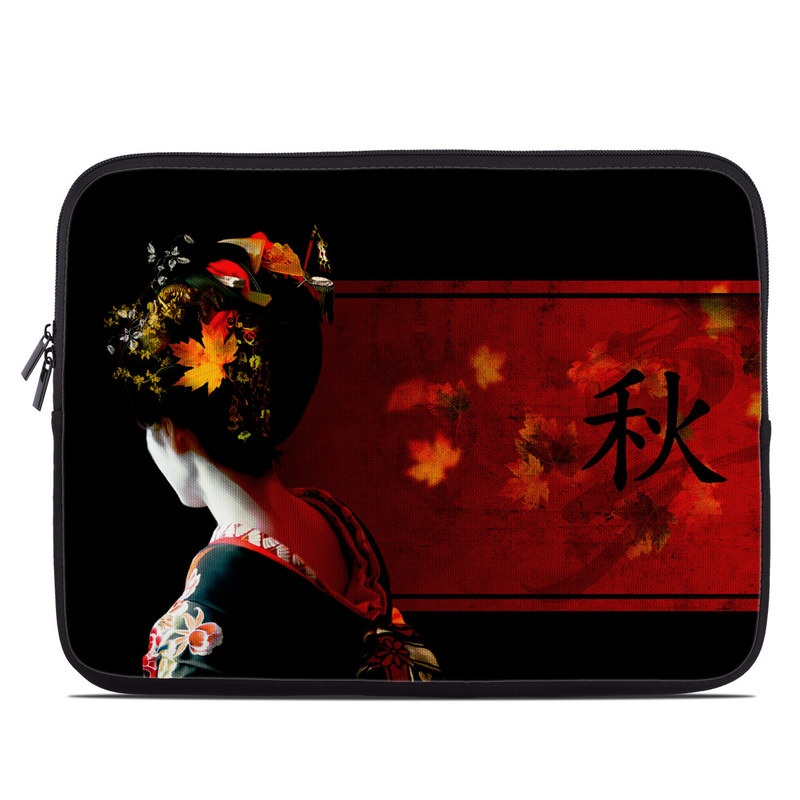 Laptop Sleeve design of Geisha, Red, Flower, Plant, Headgear, Photography, Peking opera, Costume, Headpiece, Art with black, red, orange, yellow, white colors