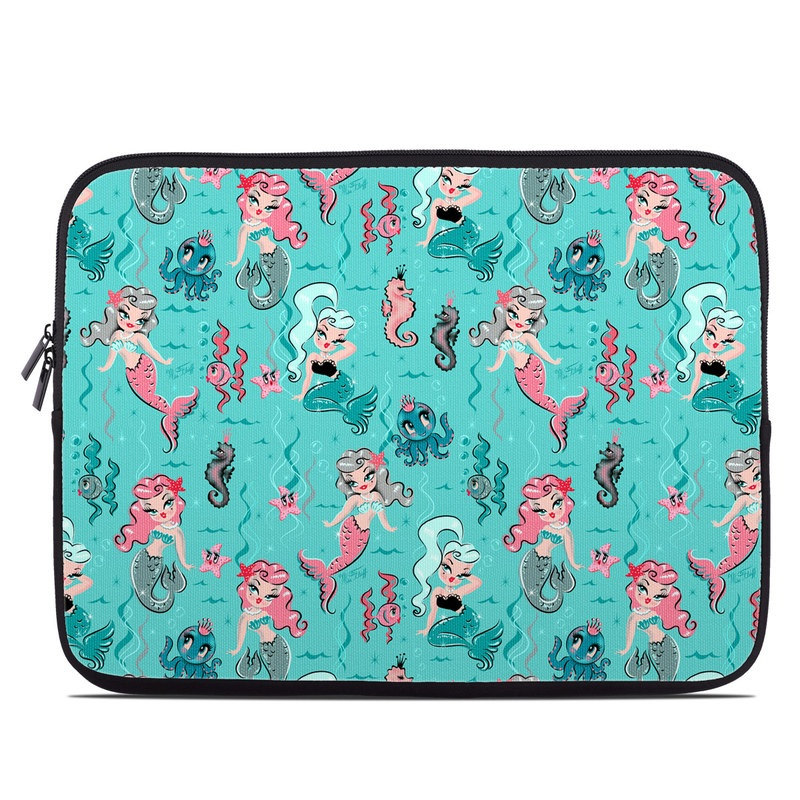 Laptop Sleeve design of Turquoise, Wrapping paper, Cartoon, Pattern, Textile, Aqua, Design, Gift wrapping, Illustration, Fictional character with blue, pink, yellow, gray colors