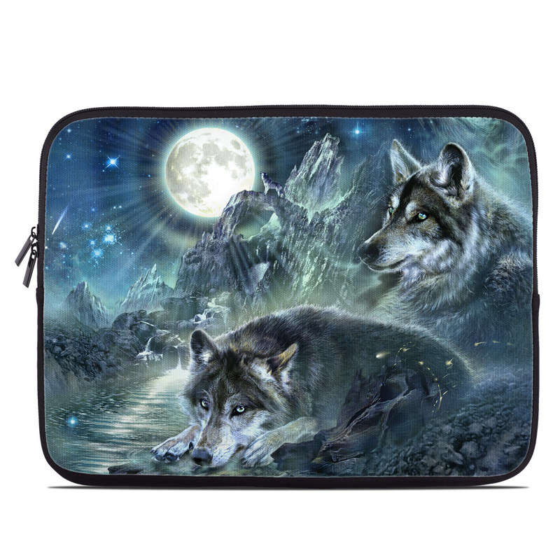 Laptop Sleeve design of Cg artwork, Fictional character, Darkness, Werewolf, Illustration, Wolf, Mythical creature, Graphic design, Dragon, Mythology with black, blue, gray, white colors