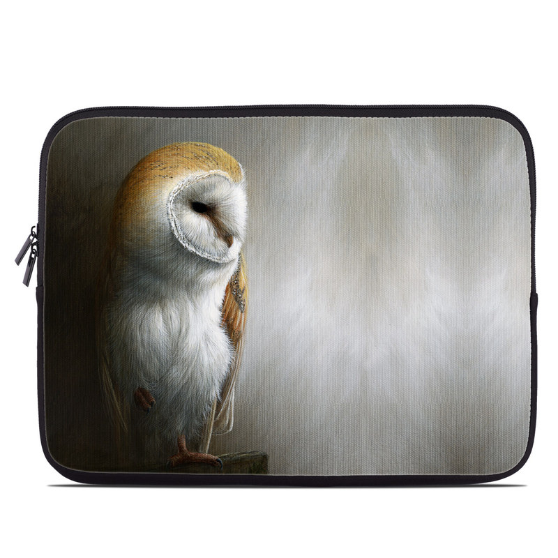 Laptop Sleeve design of Barn owl, Owl, Bird, Bird of prey, Beak, Wildlife with yellow, white, orange, brown colors