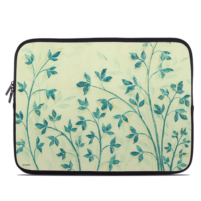 Laptop Sleeve design of Botany, Plant, Wallpaper, Pedicel, Leaf, Flower, Pattern, Textile, Wildflower with blue, green colors