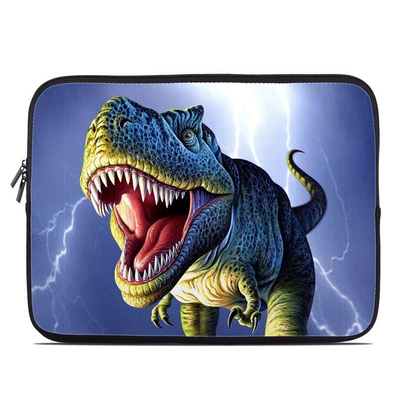 Laptop Sleeve design of Dinosaur, Extinction, Tyrannosaurus, Velociraptor, Tooth, Jaw, Organism, Mouth, Fictional character, Art with blue, green, yellow, orange, red colors
