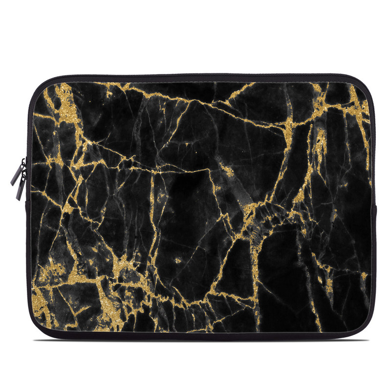 Laptop Sleeve design of Black, Yellow, Water, Brown, Branch, Leaf, Rock, Tree, Marble, Sky with black, yellow colors