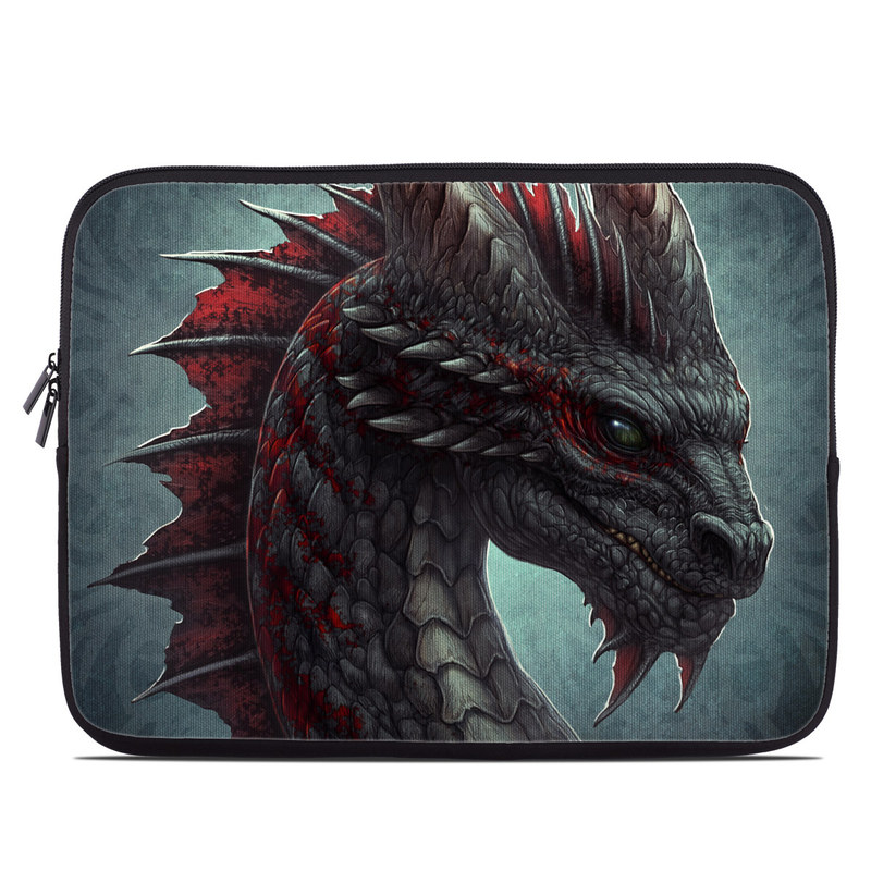 Laptop Sleeve design of Dragon, Fictional character, Mythical creature, Demon, Cg artwork, Illustration, Green dragon, Supernatural creature, Cryptid with red, gray, blue colors