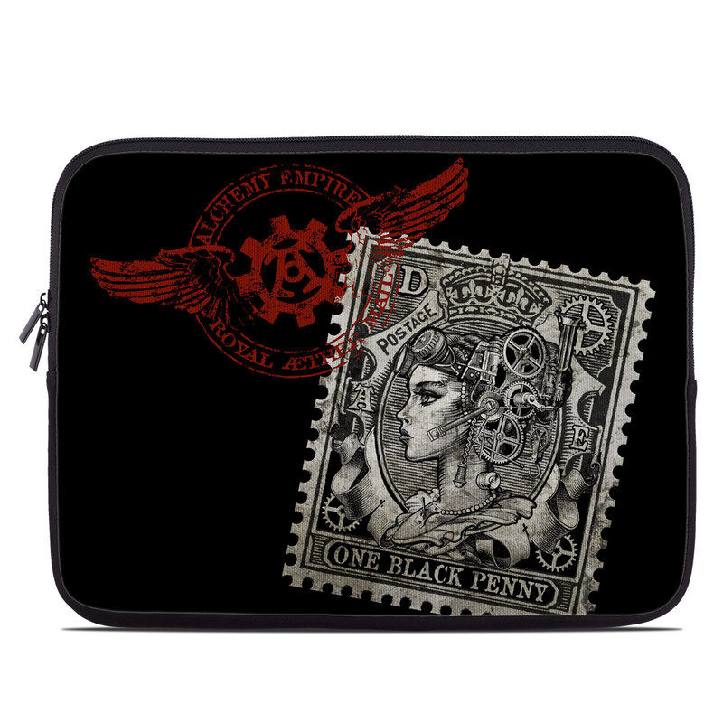 Laptop Sleeve design of Font, Postage stamp, Illustration, Drawing, Art with black, gray, red colors